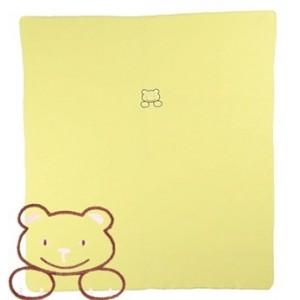 Žlutá fleece deka se svítícím medvídkem