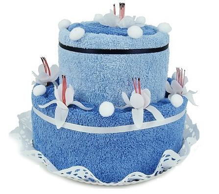 Textilní dvoupatrový dort modrý