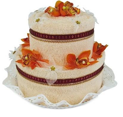 Textilní dort dvoupatrový lososový