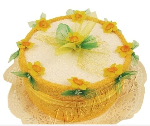 Textilní dort jednopatrový s květy