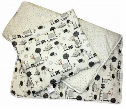 Set přikrývka + polštář dětská postýlka - šedý koník