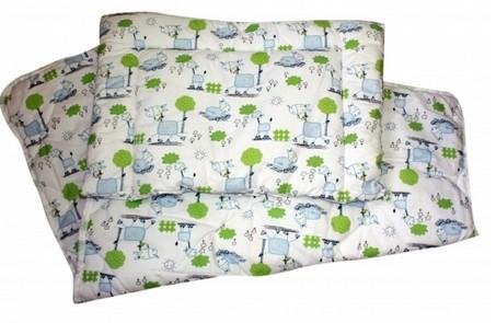 Set přikrývka + polštář dětská postýlka - modrý koník