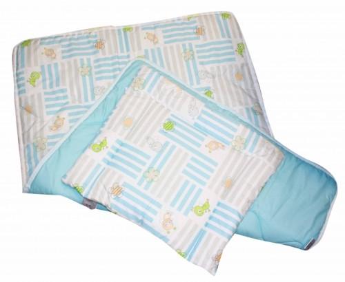 Set přikrývka + polštář dětská postýlka - modrý čmelák