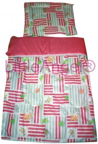 Set přikrývka + polštář dětská postýlka - růžový čmelák